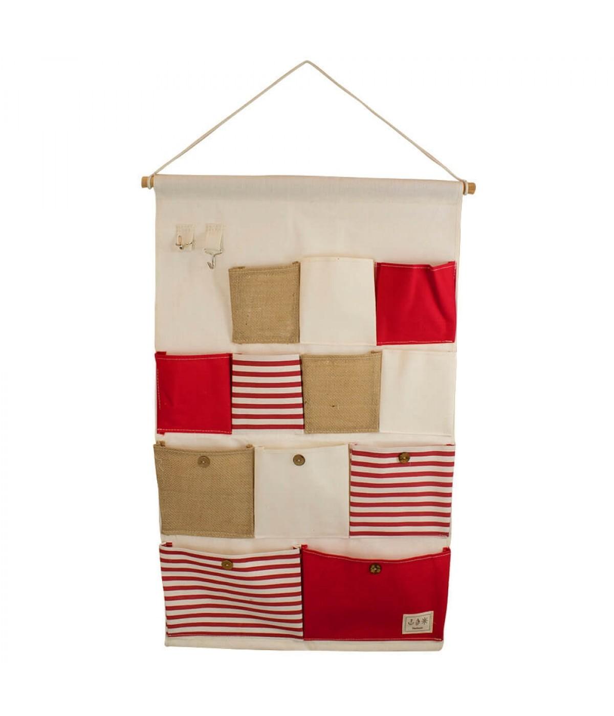 Porta Objetos Parede Pano 12 Bolsos Vermelho 74x45cm