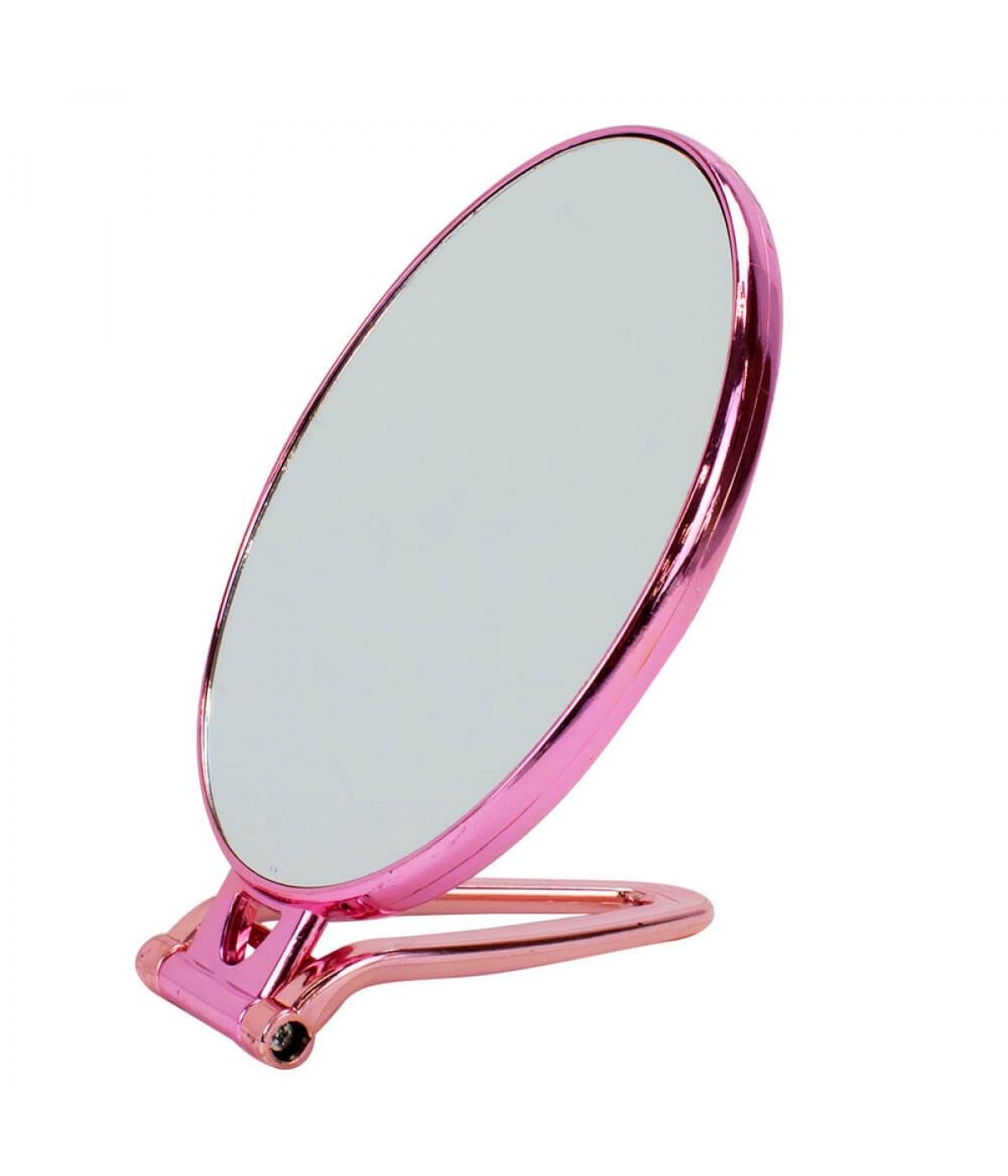 Espelho Oval Pink Dupla Face Mesa Mão 19x13cm