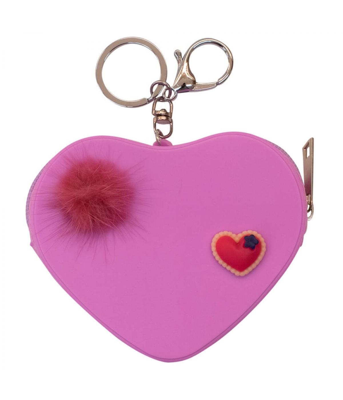 Porta Moeda Coração Lilás 9x10.5cm