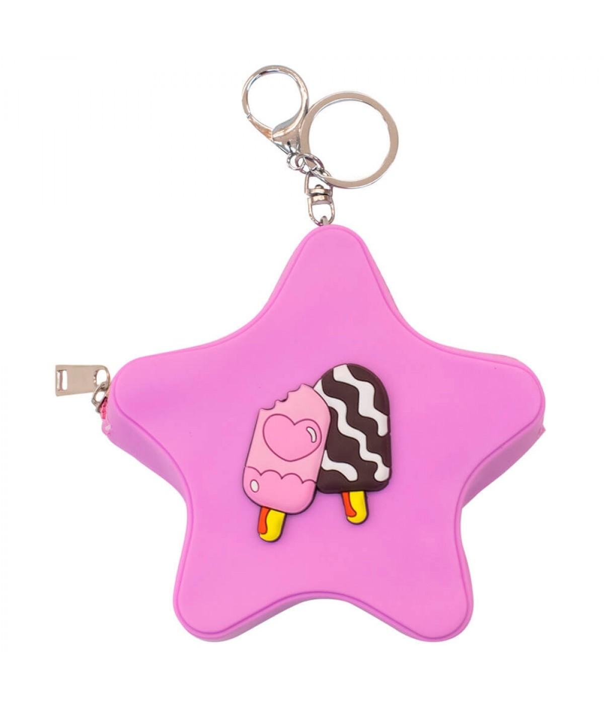 Porta Moeda Estrela Pink Chaveiro 12x12cm