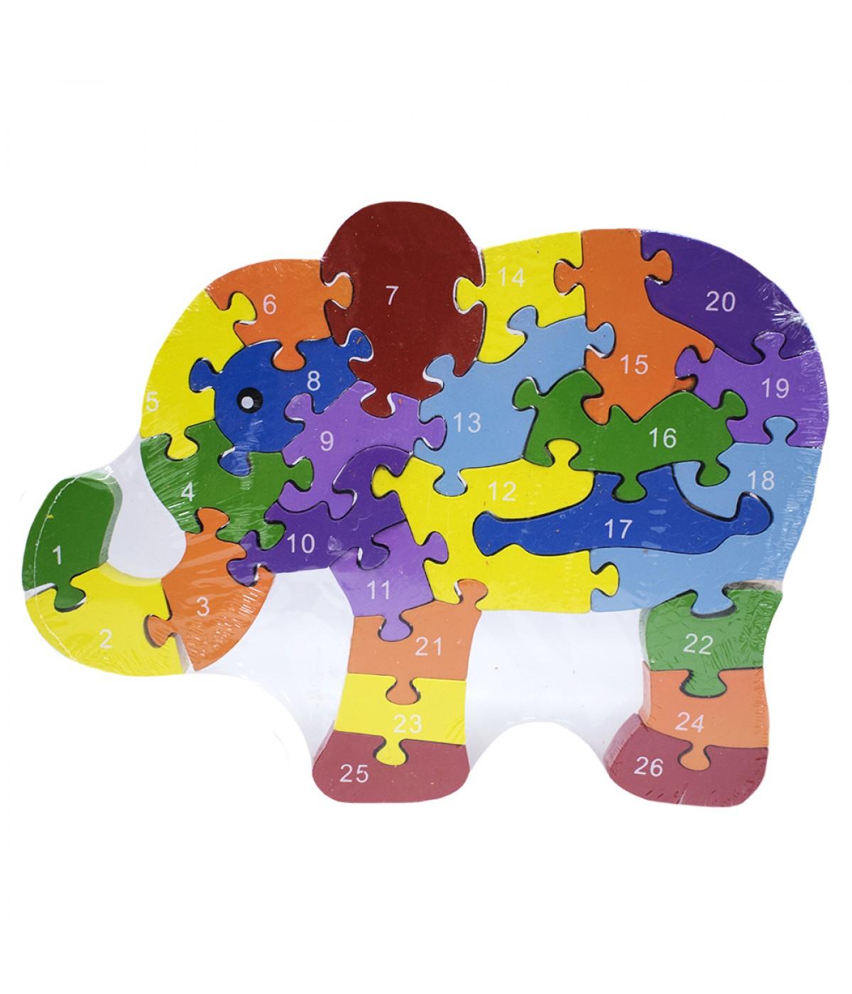 Quebra-cabeça elefante colorido 26 peças 19.5x26cm