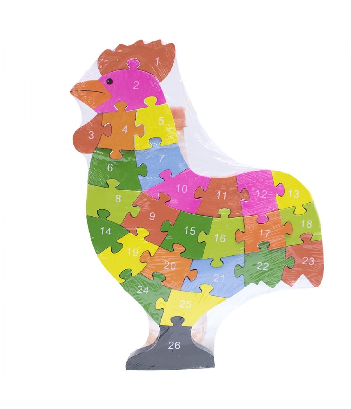 Quebra-cabeça galo colorido 26 peças 30x22cm