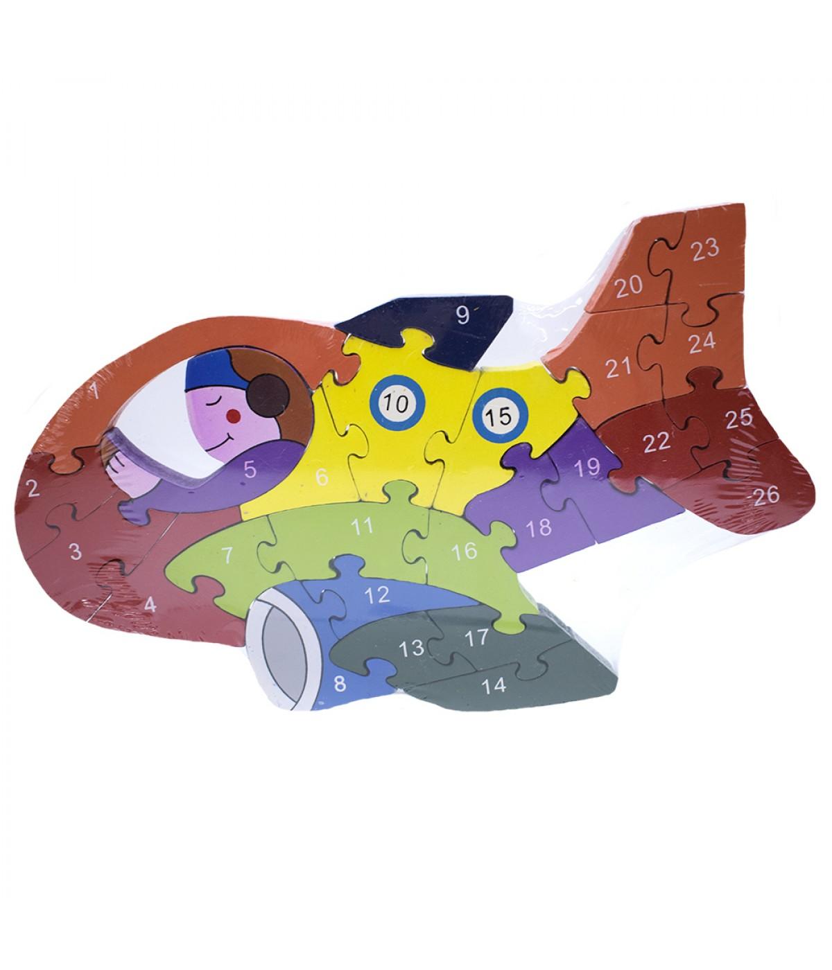Quebra-cabeça avião colorido 26 peças 17x29cm