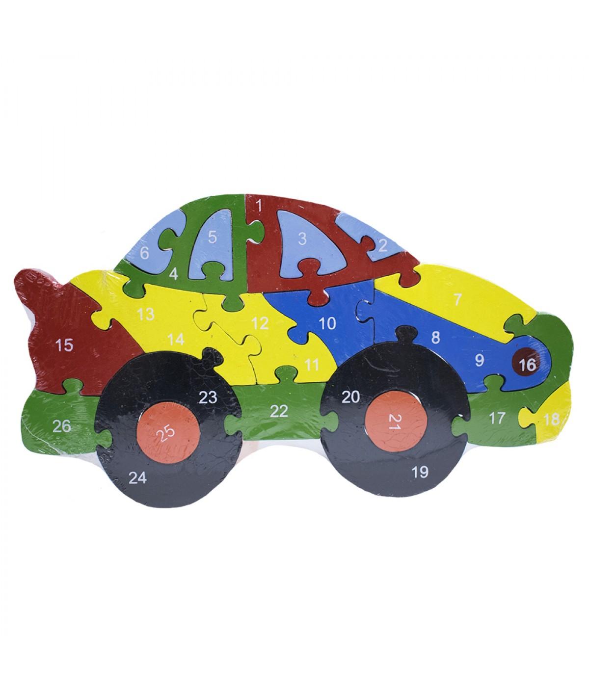 Quebra-cabeça carro colorido 20 peças 16x28cm