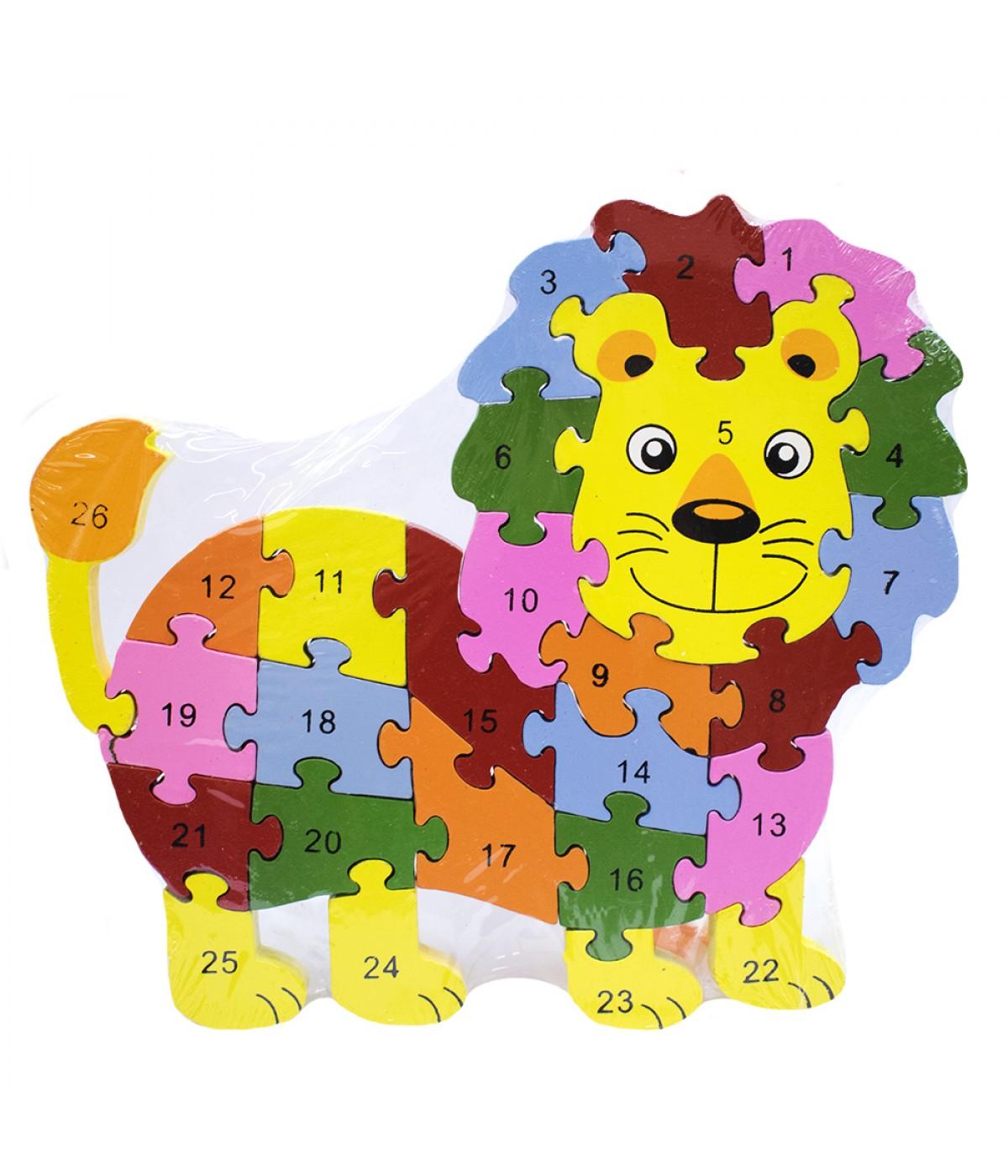 Quebra-cabeça leão colorido 26 peças 21.5x23.5cm