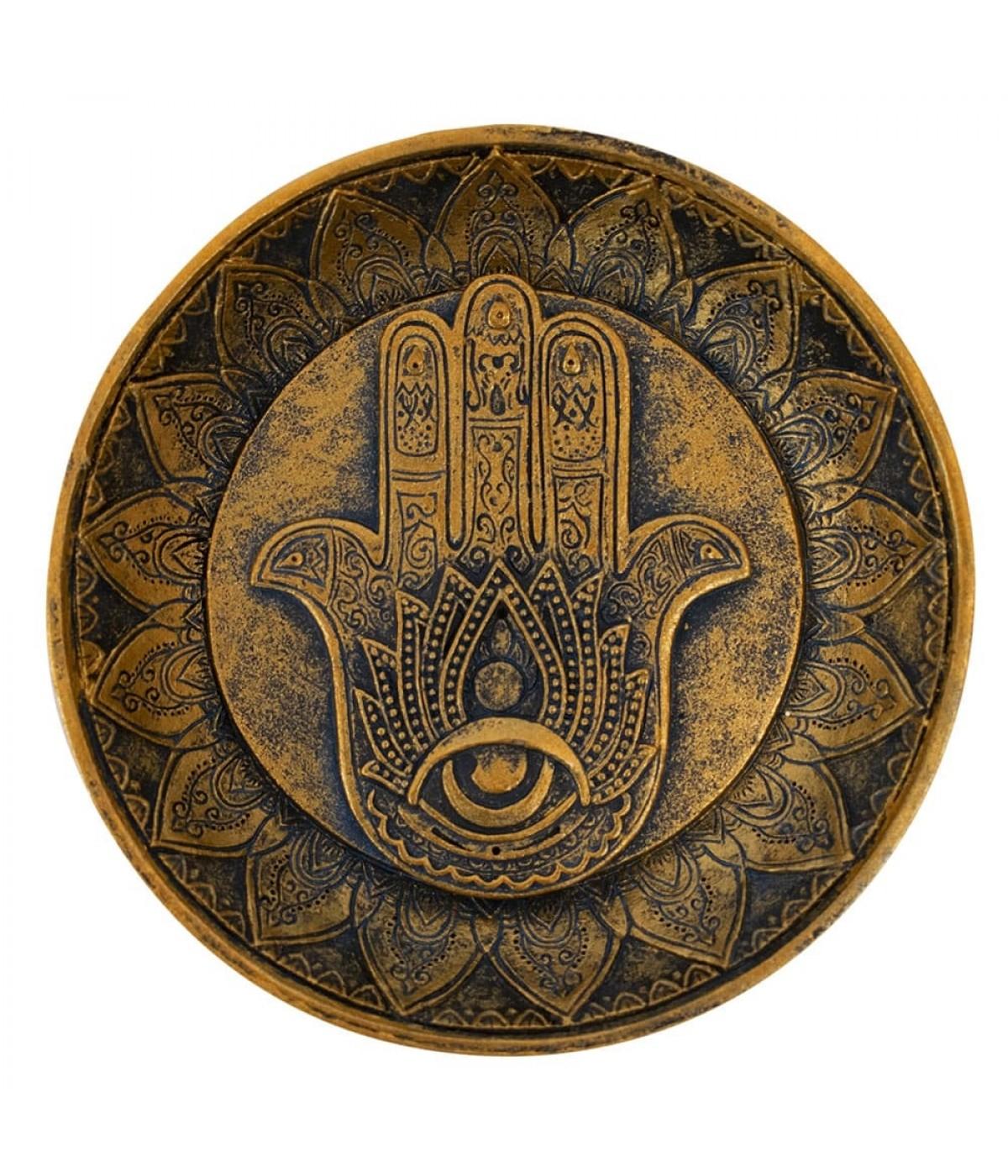 Porta Incenso Mão Buda Lótus 12.5x12.5cm
