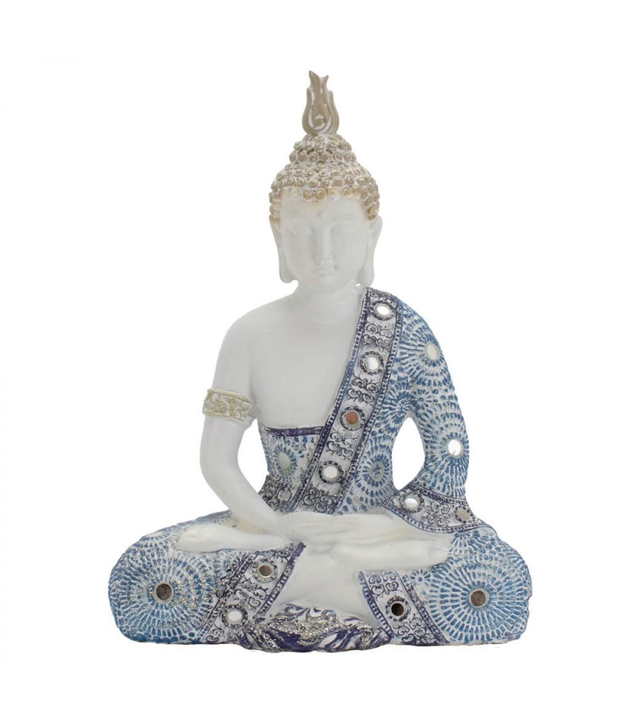 Buda Branco Em Posição Dhyani Mudra 19,5cm