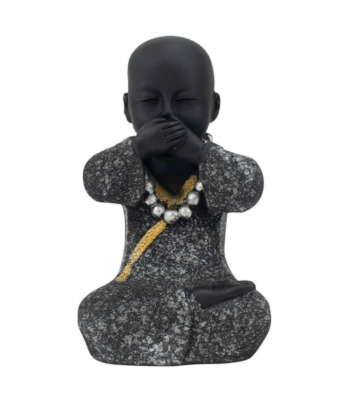 Monge Negro Sentado Não Falo 13cm