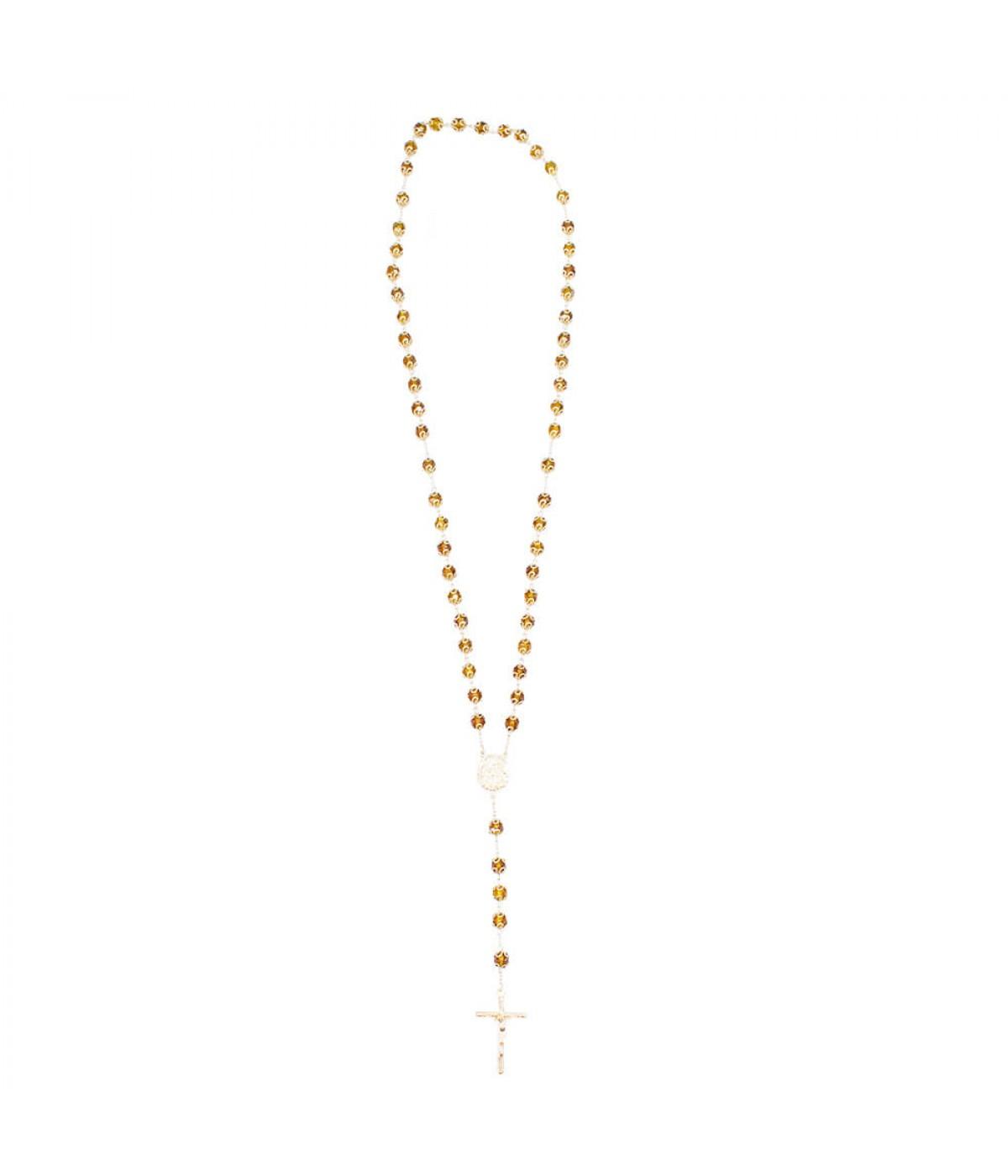 Terço Corrente Dourada Contas Marrons Sagrada Família 57cm