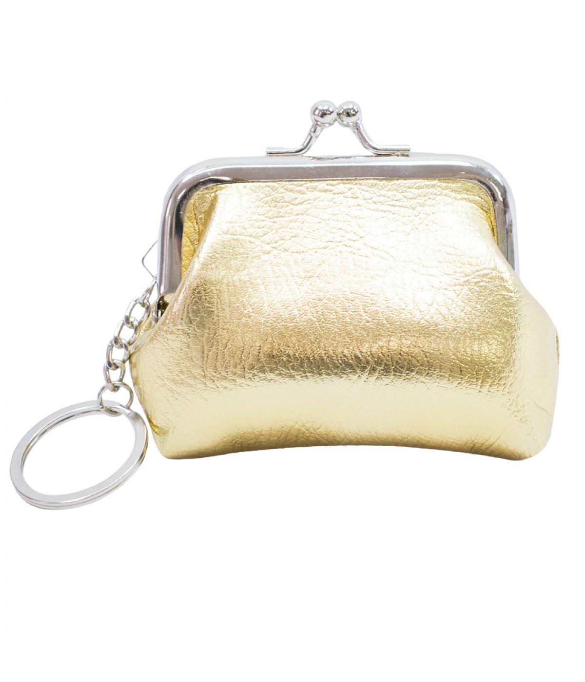 Porta moeda dourado com chaveiro 9x8.5cm