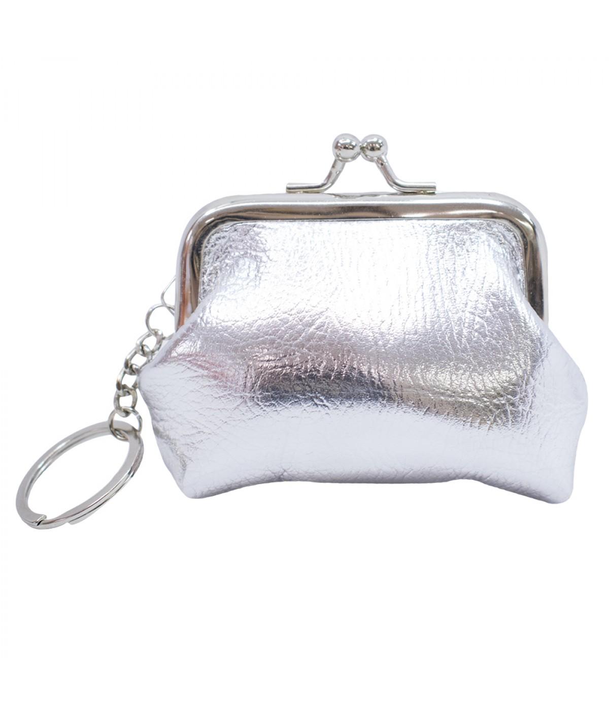 Porta moeda prata com chaveiro 9x8.5cm