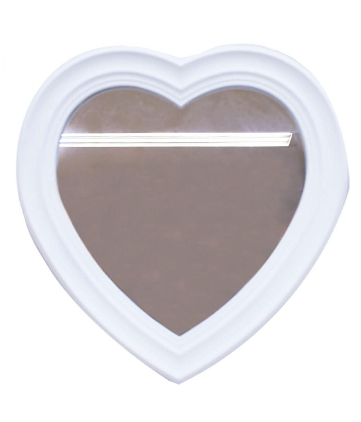 Espelho Moldurado Coração Branco 30x30cm