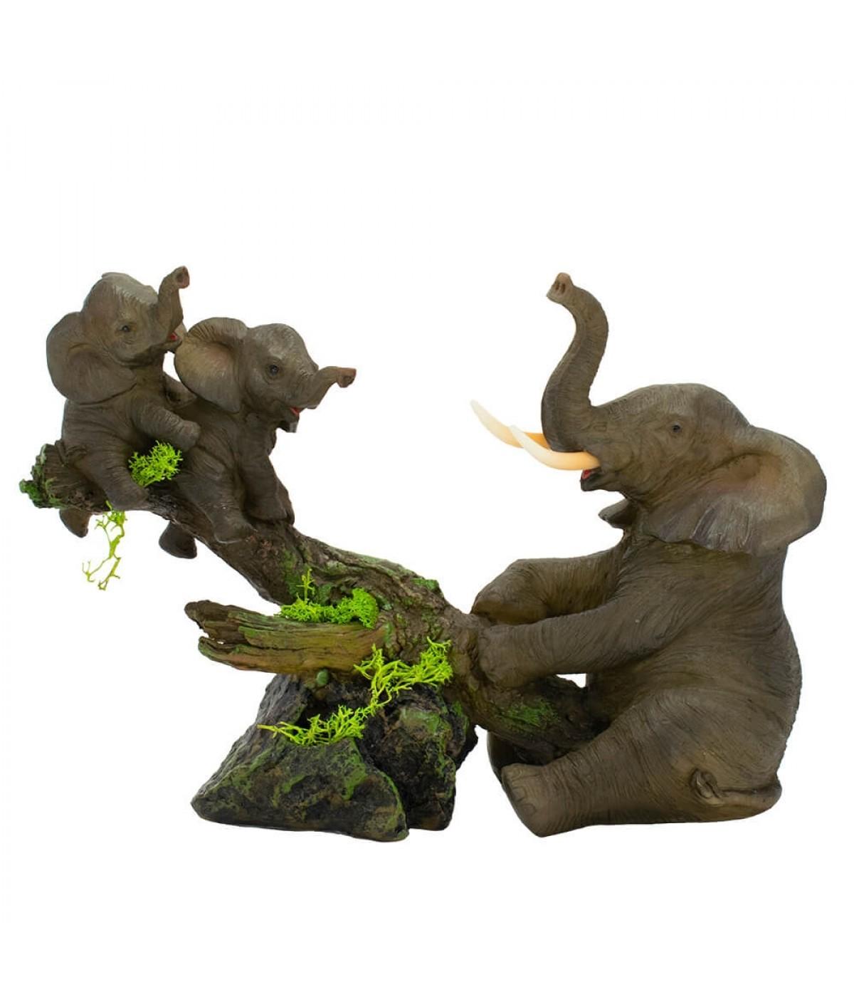 Elefante Cinza Balança Mãe Filhotes 17cm - Resina Animais