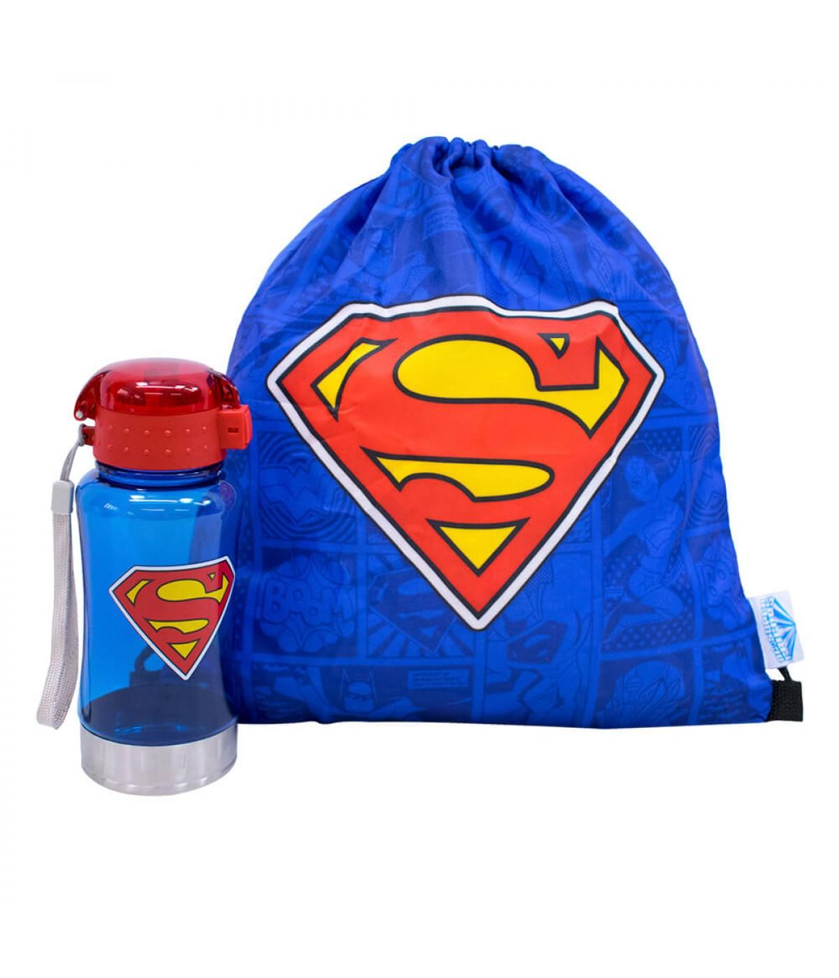 Garrafa 450ml Com Mochila Tipo Saco Superman - Liga Da Justiça