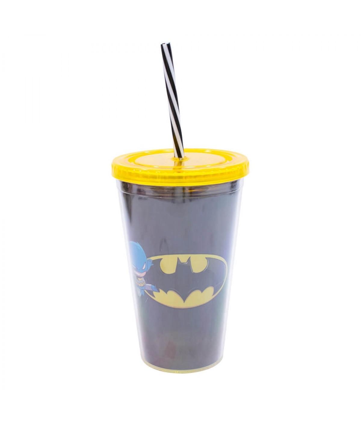 Copo Com Canudo Batman 450ml - Liga Da Justiça