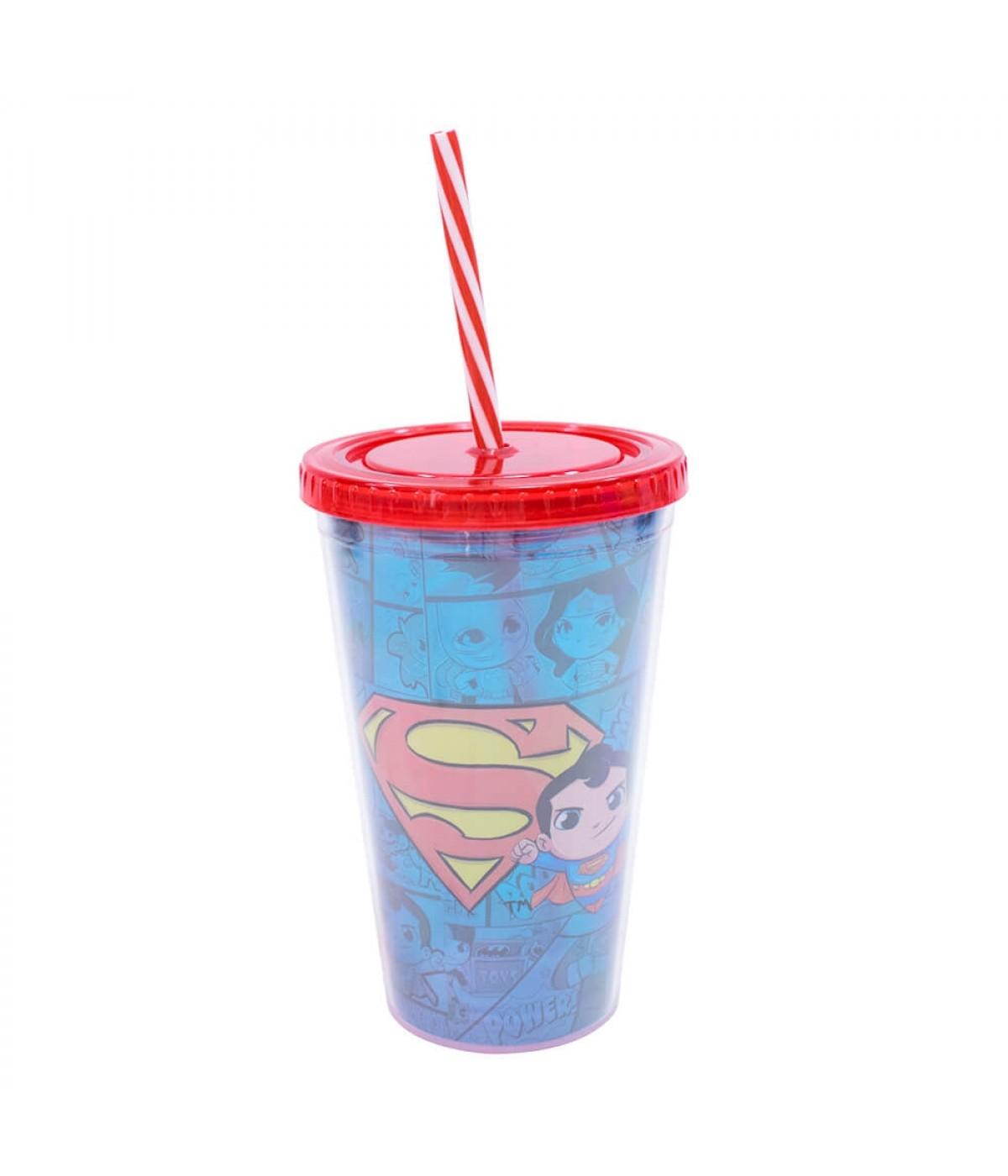 Copo Com Canudo Superman 450ml - Liga Da Justiça