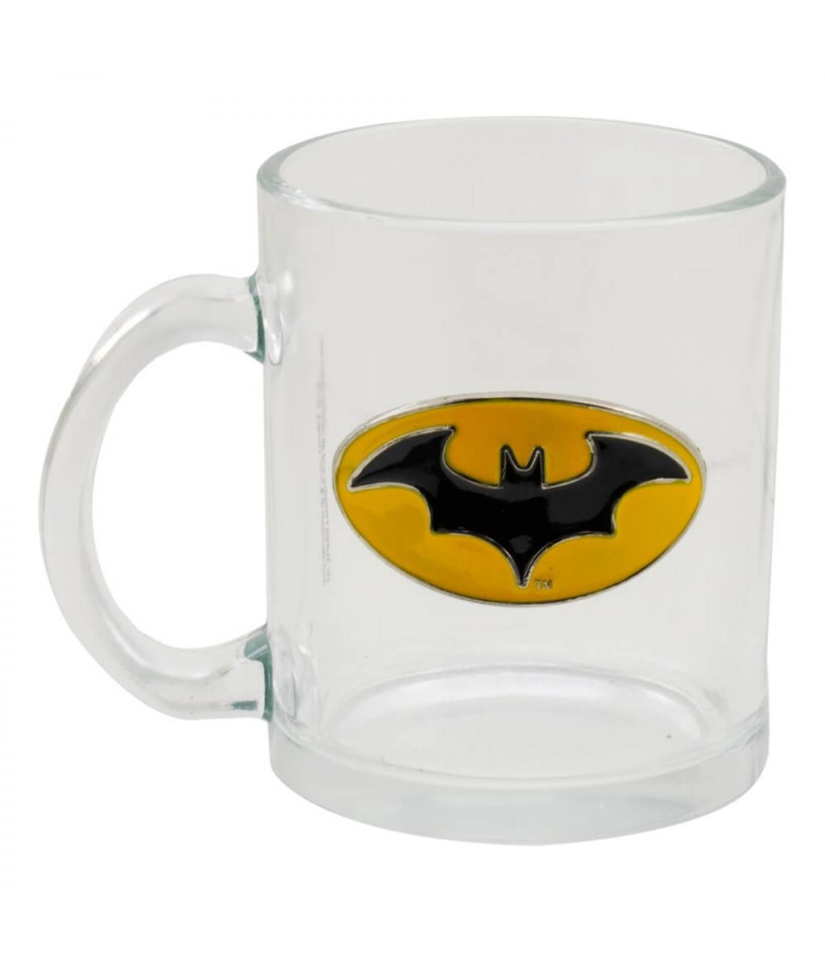Caneca Vidro Brasão Metal Batman 370ml - Liga Da Justiça