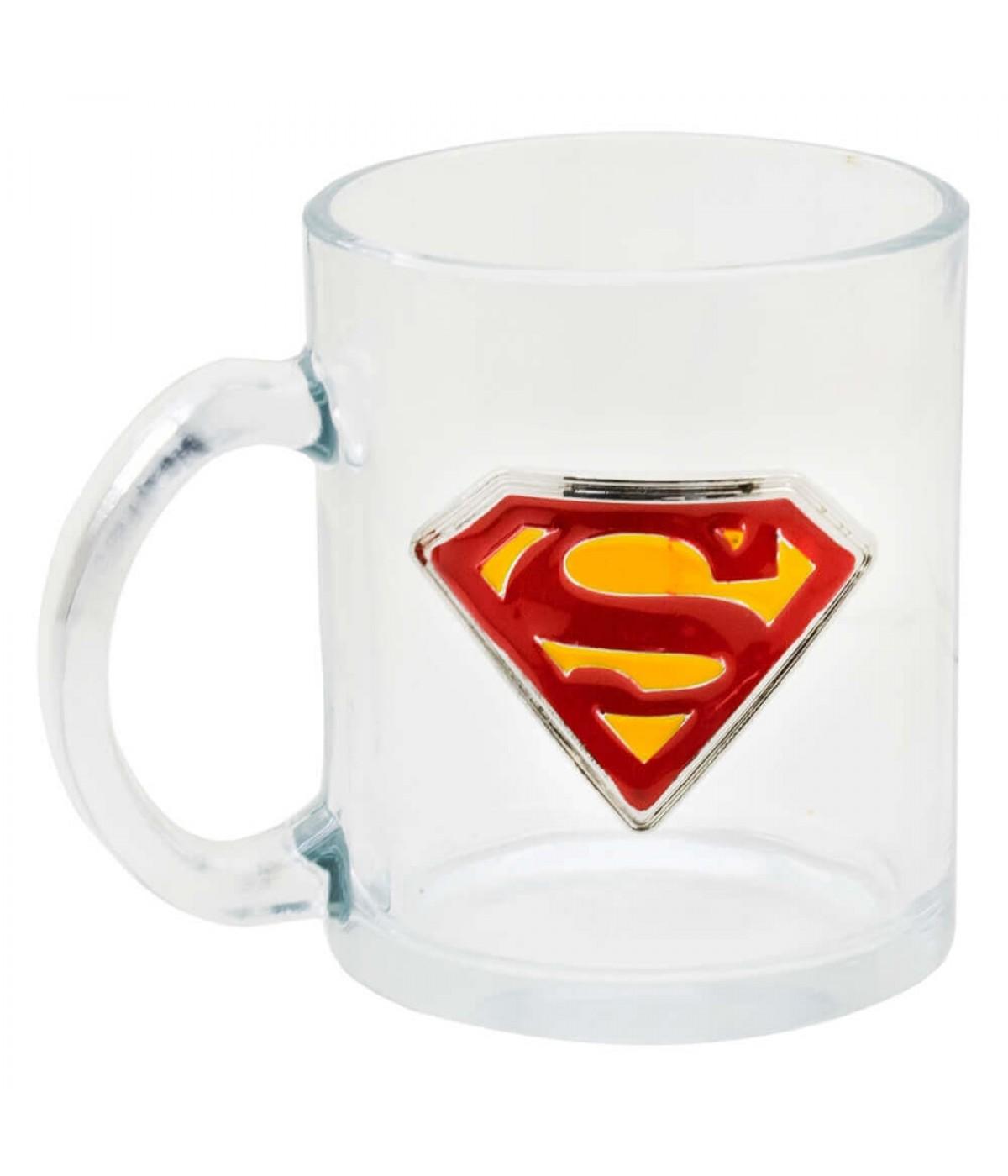 Caneca Vidro Brasão Metal Superman 370ml - Liga Da Justiça