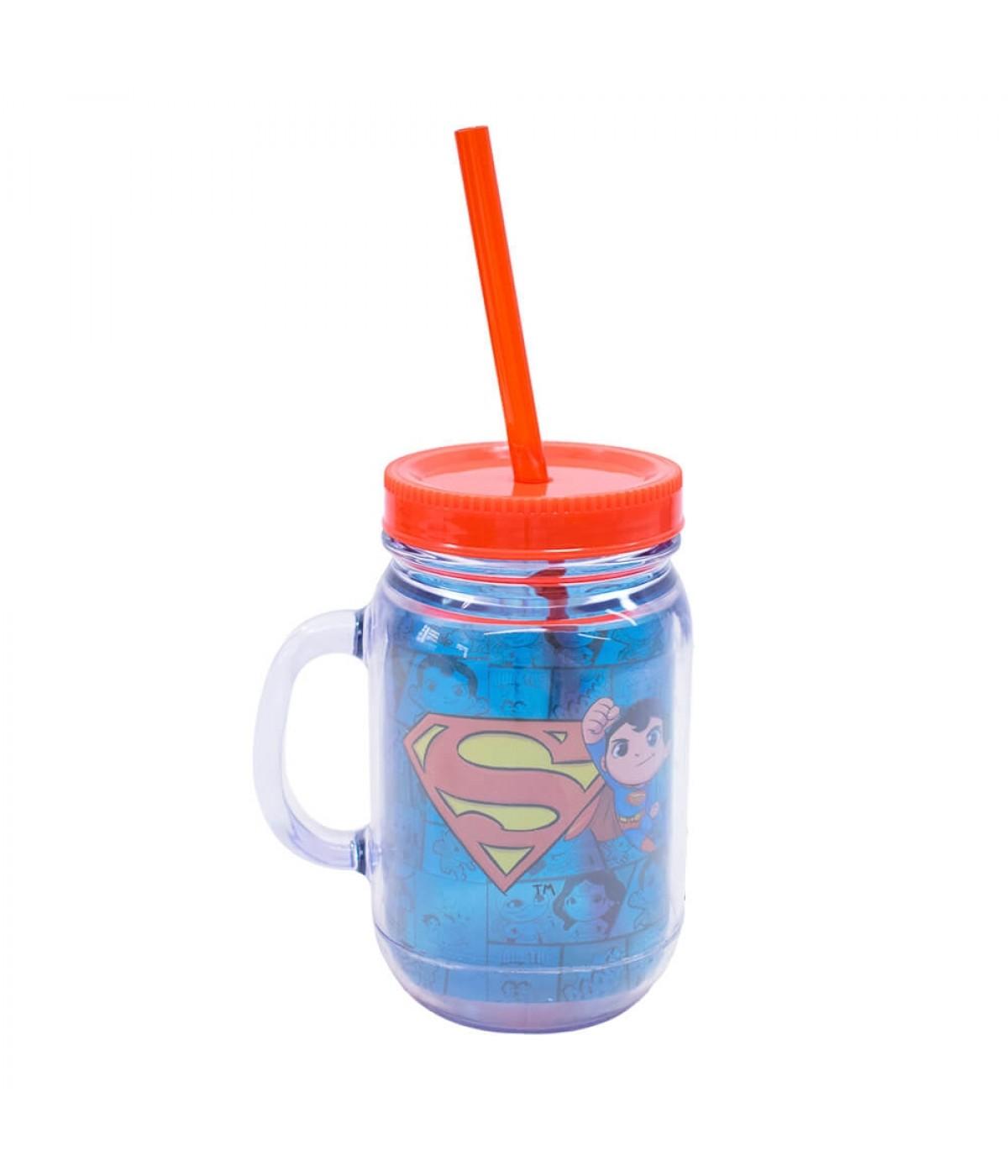 Caneca De Plástico Com Canudo Superman 420ml - Liga Da Justiça