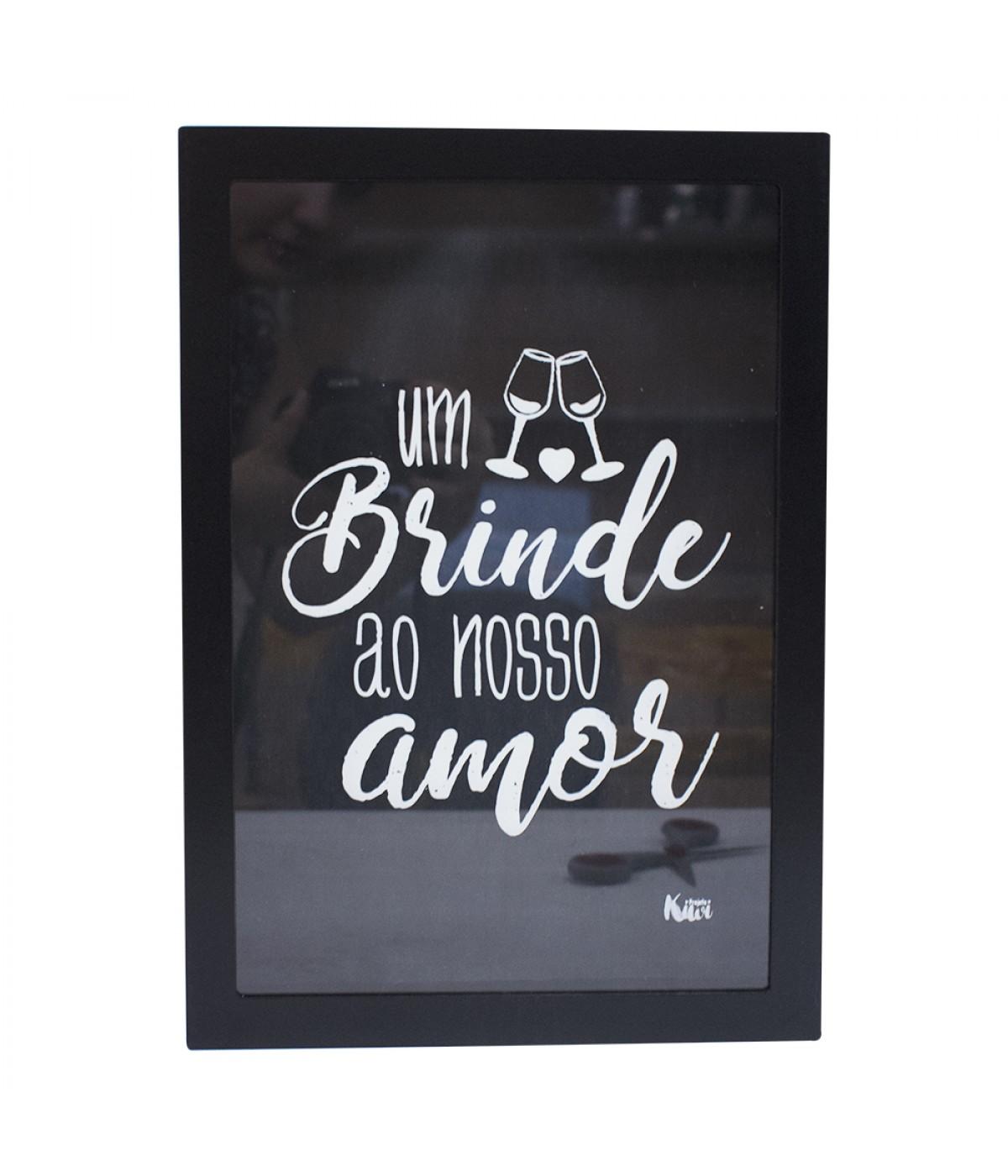 Porta rolhas preto Brinde ao nosso amor - Projeto Kiwi