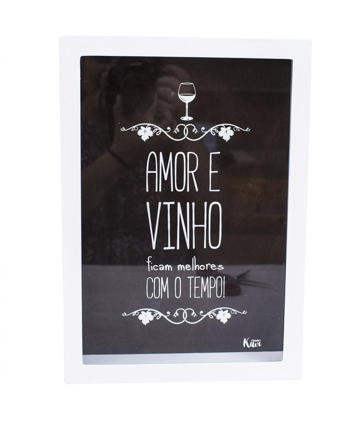 Porta rolhas branco Amor e vinho ficam melhores com o tempo! - Projeto Kiwi