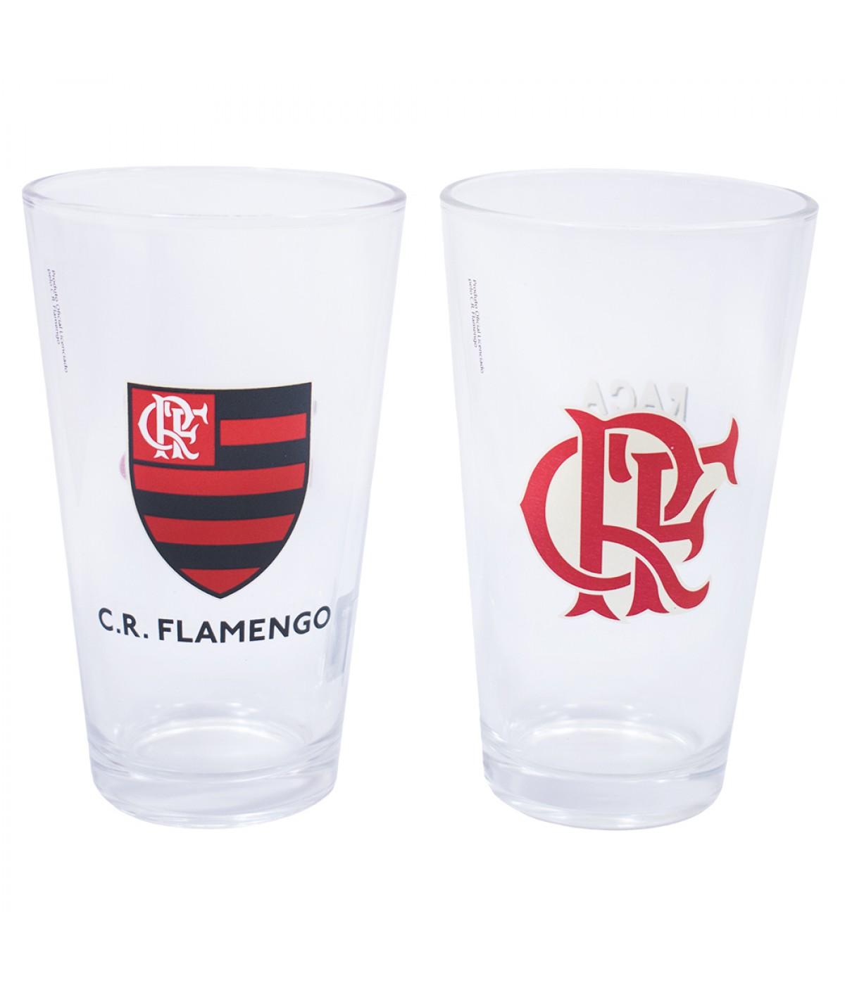 JG 2 copos de vidro 475ml - Flamengo