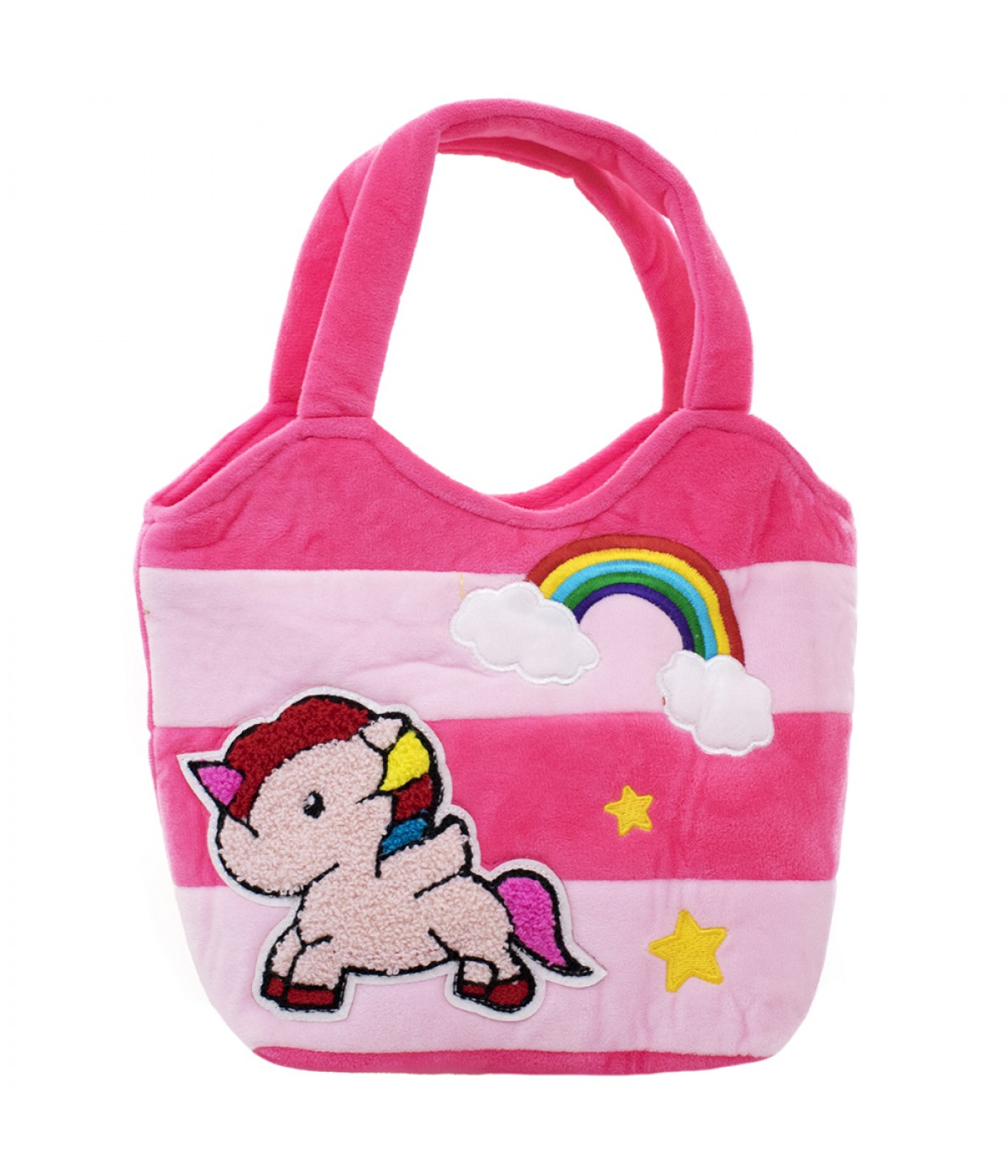 Bolsa Dourada Infantil : Bolsa m?o infantil rosa pel?cia unic?rnio xt m