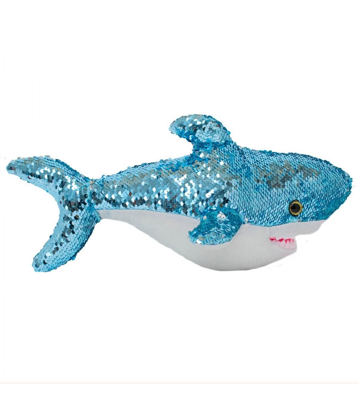 Tubarão Lantejoulas Azul Prateado 38cm - Pelúcia