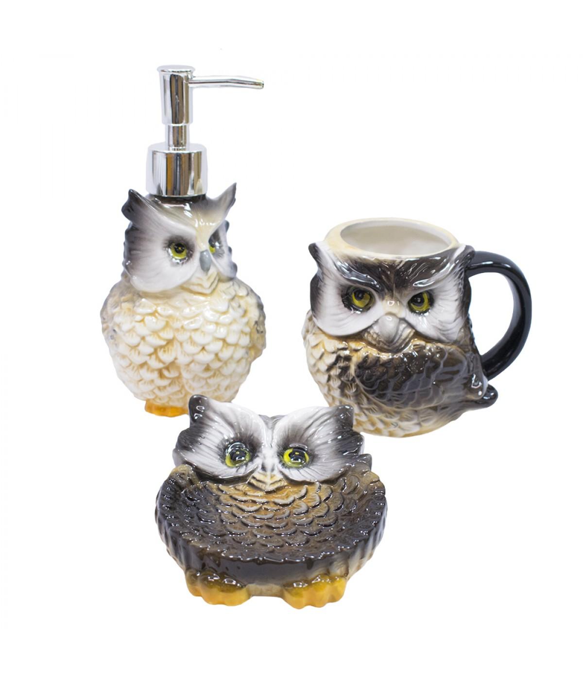 Jg utensílios de porcelana para banheiro coruja