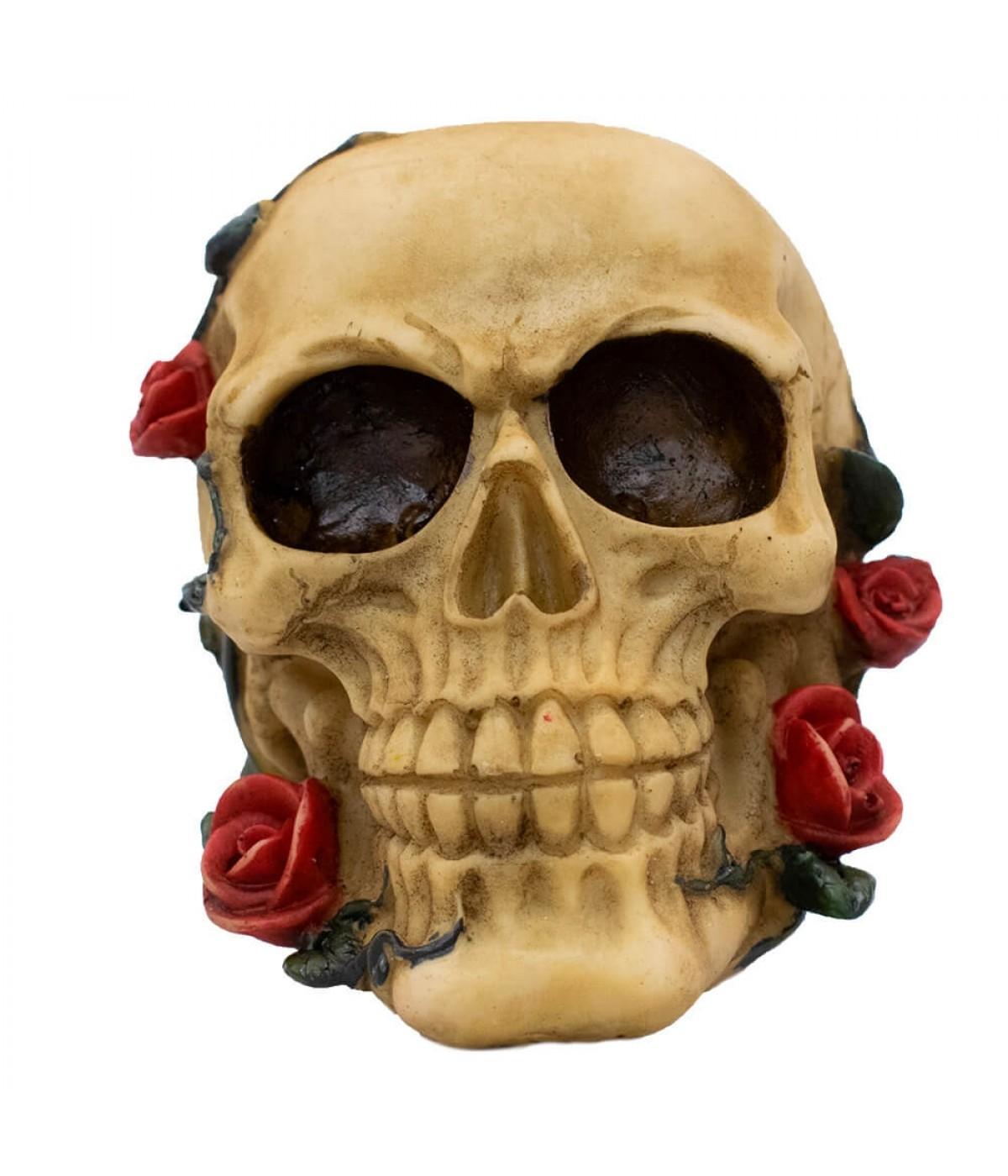Caveira Rosas Cofre Porta Moeda 12cm