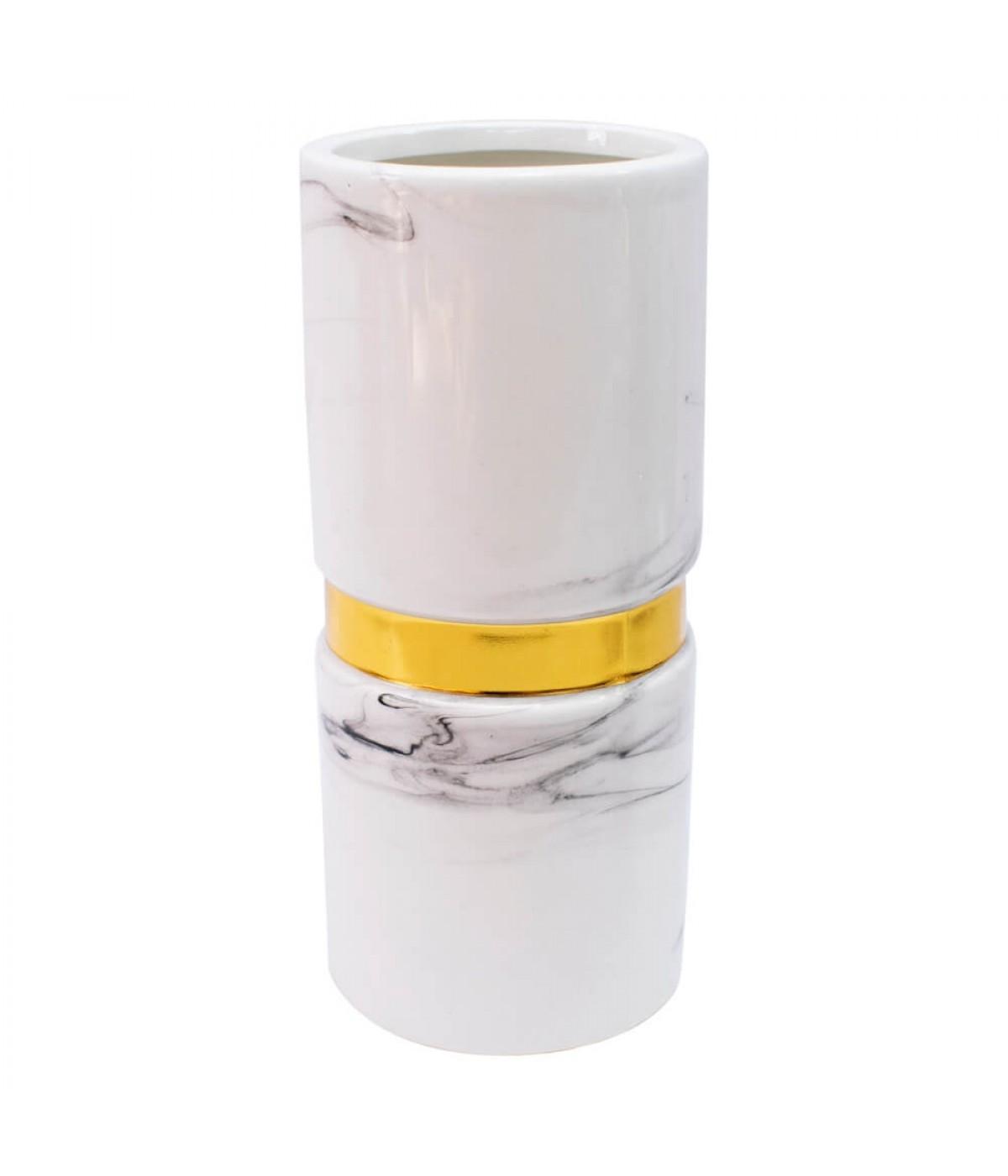 Vaso Porcelana Branca 22x10x10cm
