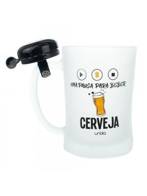 Caneca Vidro Uma Pausa Para Beber Cerveja Campainha 600ml