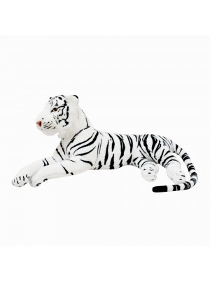 Tigre Branco Deitado Realista 70cm - Pelúcia