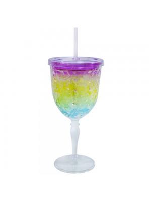 Copo com canudo gel colorido congelante 300ml