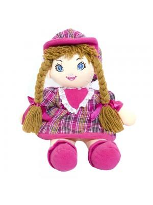 Boneca Rosa Xadrez Com Chapéu 54cm