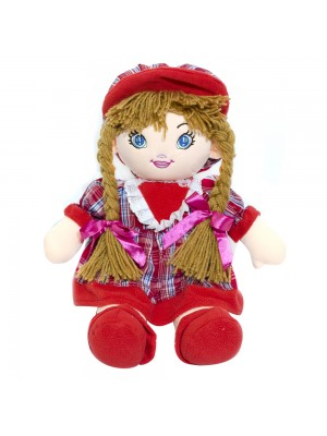 Boneca Vermelha Xadrez Com Chapéu 54cm
