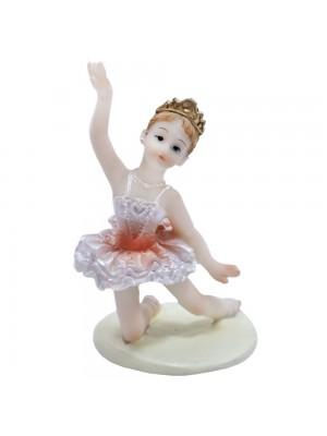 Bailarina Laranja Agachada Braço Direito Levantado 9cm - Enfeite Resina