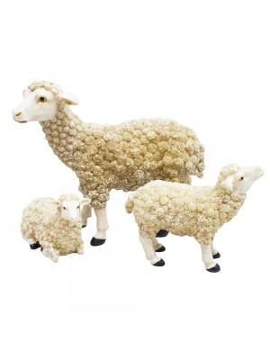 Jogo 3 Ovelhas Brancas 15cm - Enfeite Resina