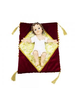 Menino Jesus Roupa Branca Na Almofada 37cm - Enfeite Resina