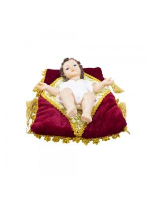 Menino Jesus Roupa Branca Na Almofada 22cm - Enfeite Resina