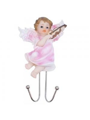 Ganchos Anjinho roupa rosa tocando violino 14cm - Enfeite resina
