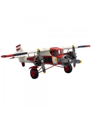 Avião Branco/Vermelho 3 Hélices 60cm Estilo Retrô - Vintage