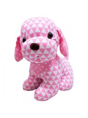 Cachorro Sentado Pano Rosa 22cm - Pelúcia
