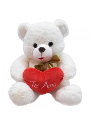 Urso Branco Coração Te Amo 33cm - Pelúcia