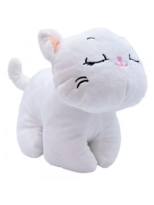 Gato Branco Olhos Fechados 26cm - Pelúcia
