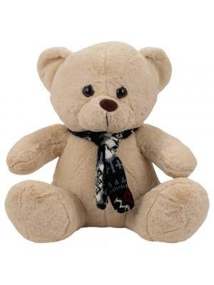 Urso Bege Sentado Cachecol 40cm - Pelúcia