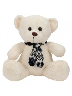 Urso Branco Sentado Cachecol 31cm - Pelúcia