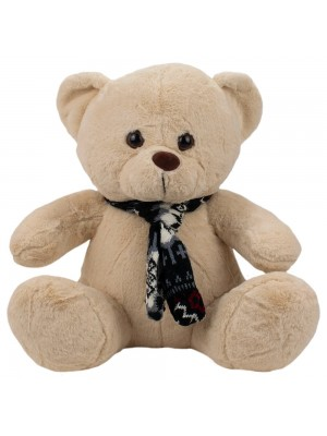 Urso Bege Sentado Cachecol 31cm - Pelúcia
