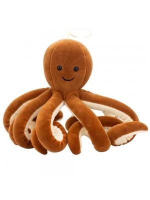 Polvo Marrom Escuro 8 Tentáculos Longos 16cm - Pelúcia