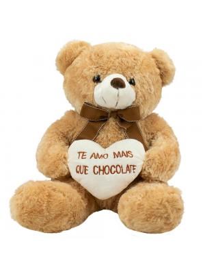 Urso Sentado Te Amo Mais Que Chocolate 39cm - Pelúcia
